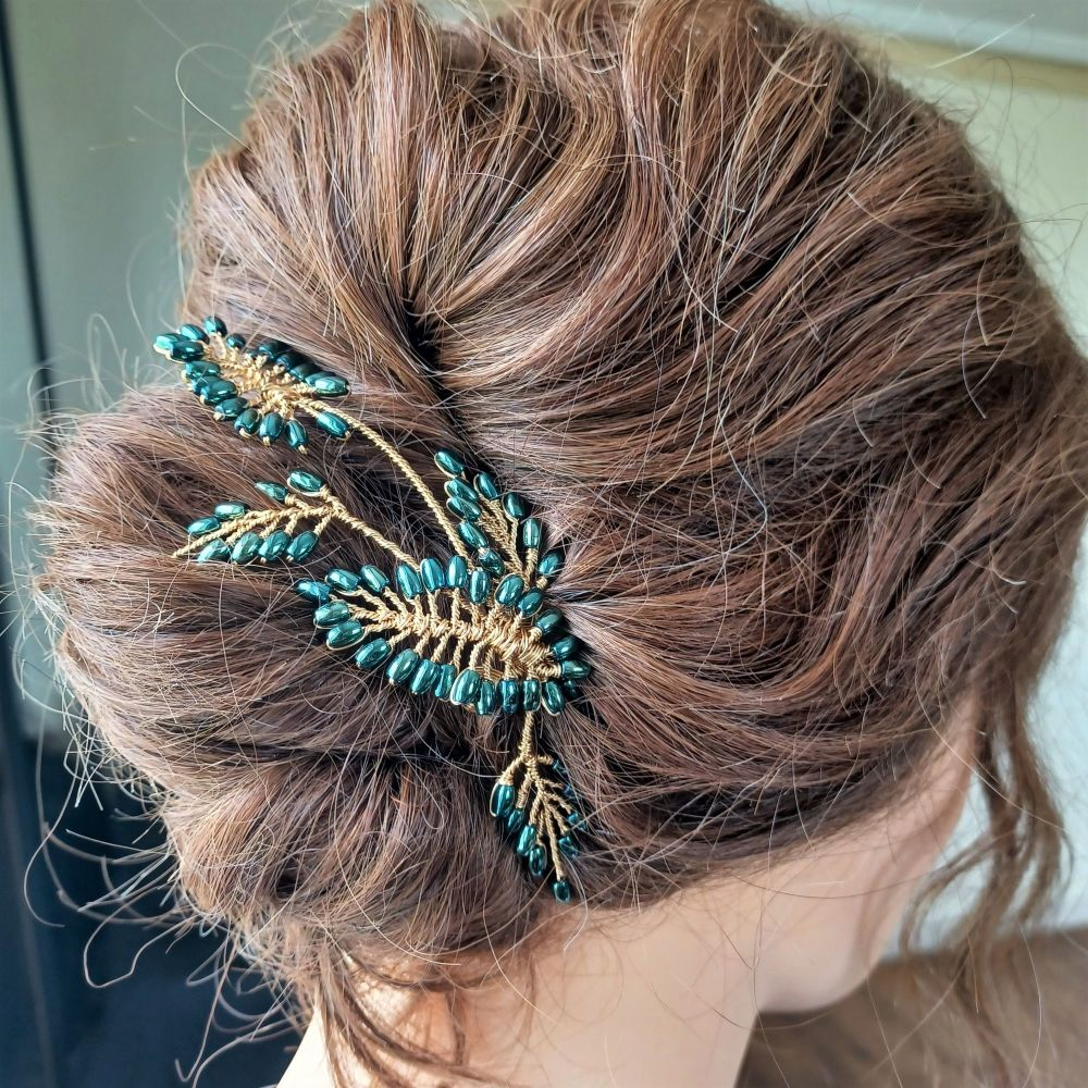 Mother of the bride jade green occasion hair accessory-1