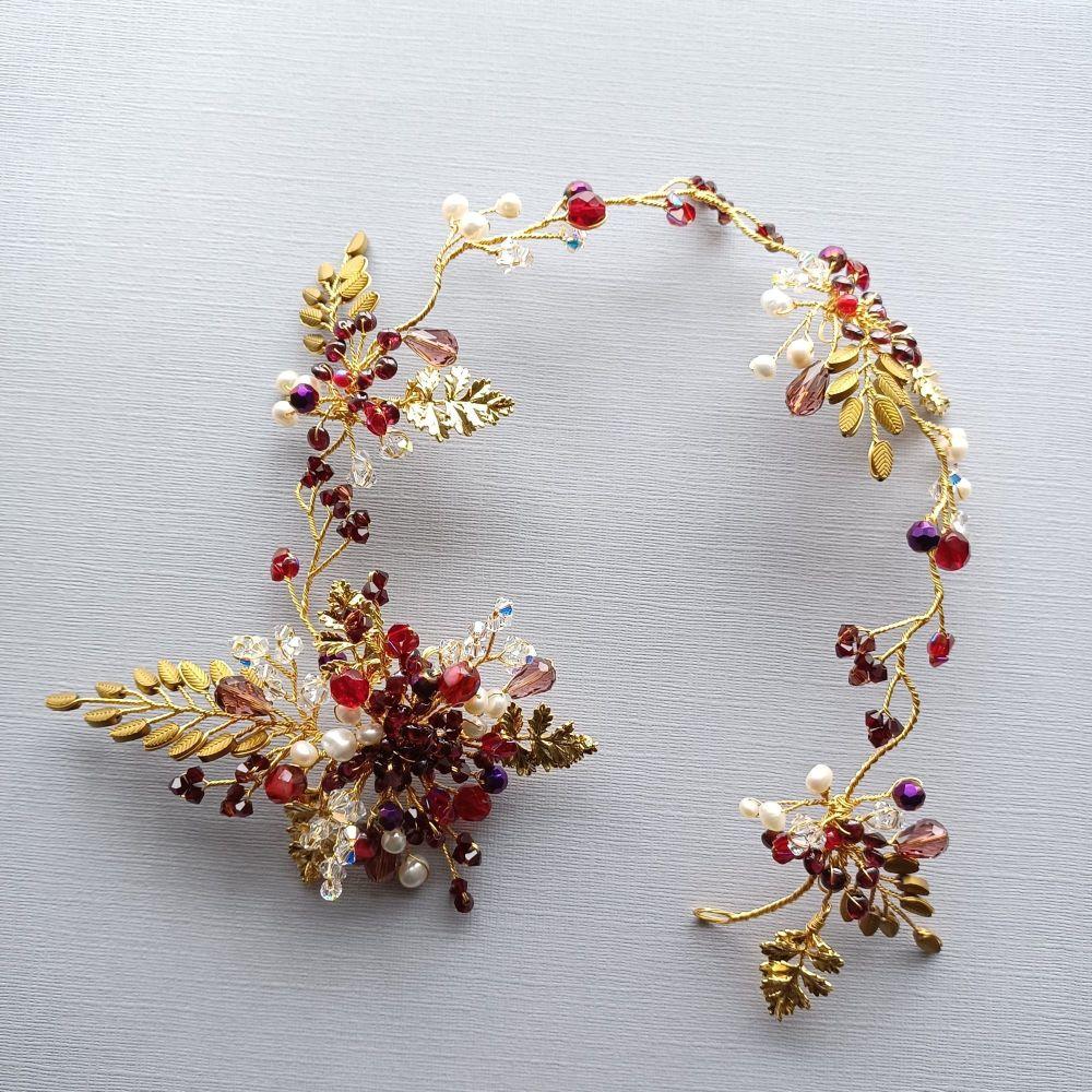 Custom made-bridal-wedding-occasion-headpiece-accessory with burgundy-red-w