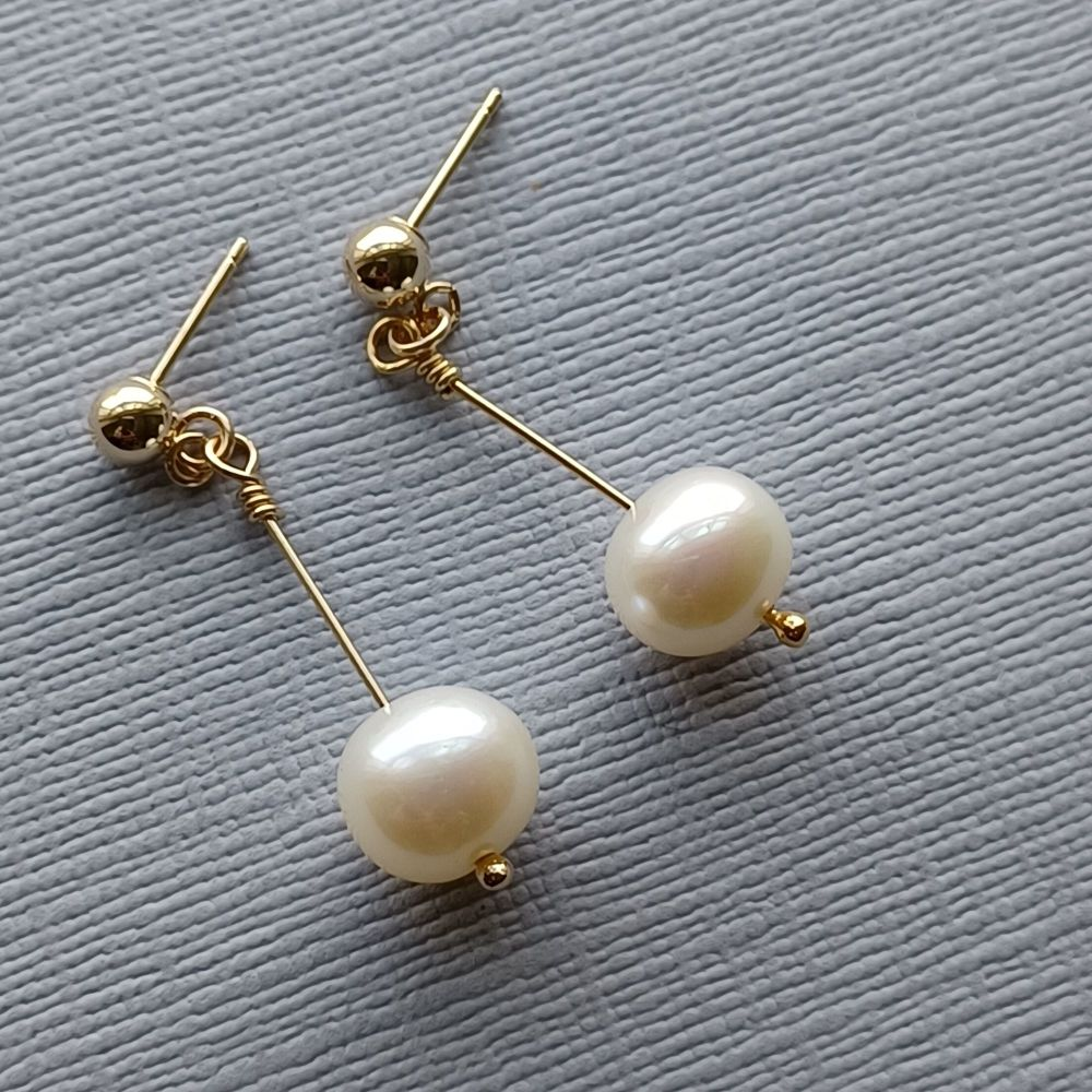 Fresh water pearl and 14K gold filled bridal-wedding earrings with studs-14KGFLDGFWP8-9