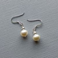 Fresh water pearl and sterling silver bridal-occasion earrings-SSFWPARL8-9-WSB-SOLID