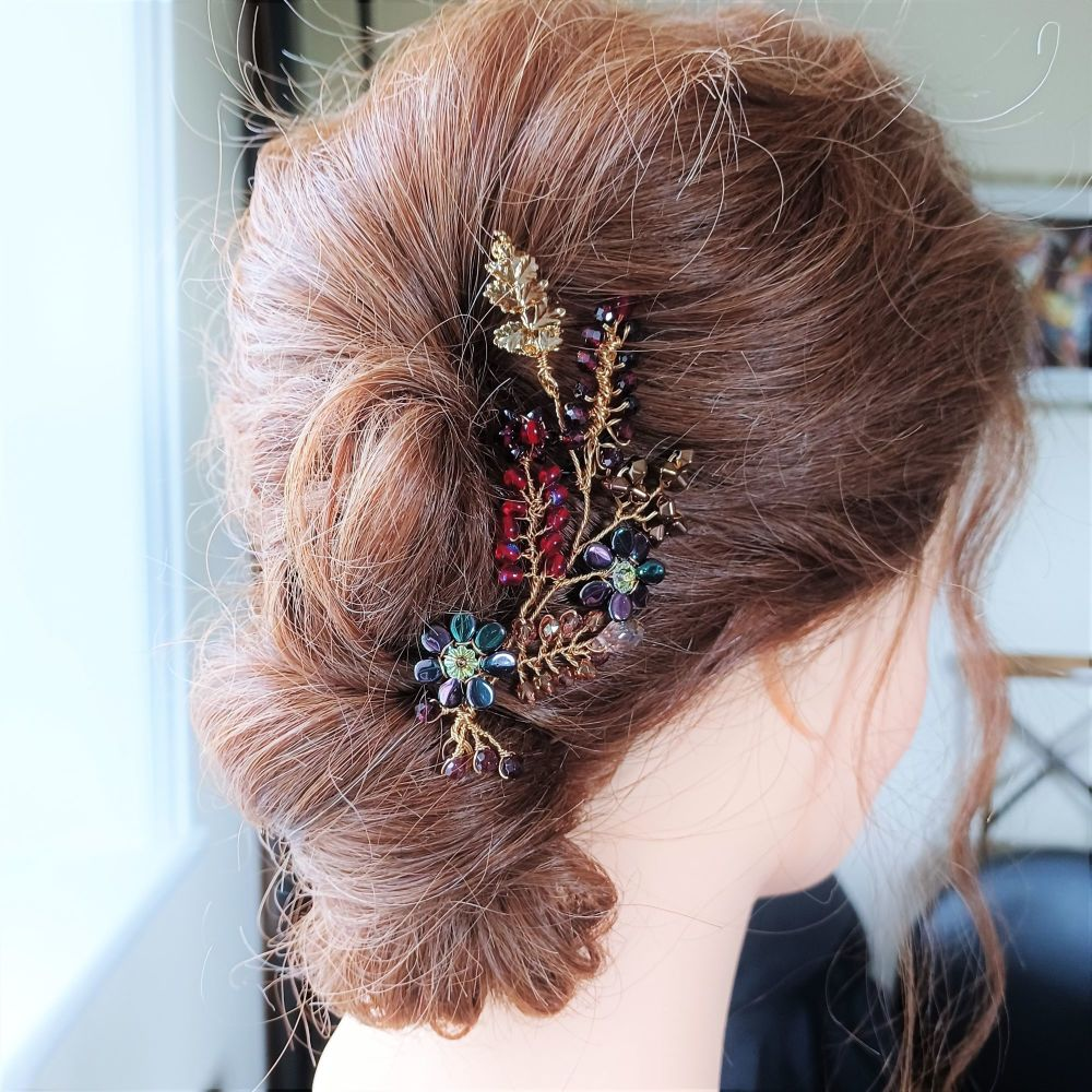 Bridesmaids autumnal floral hair accessory in burgundy and gold-Juliana.1