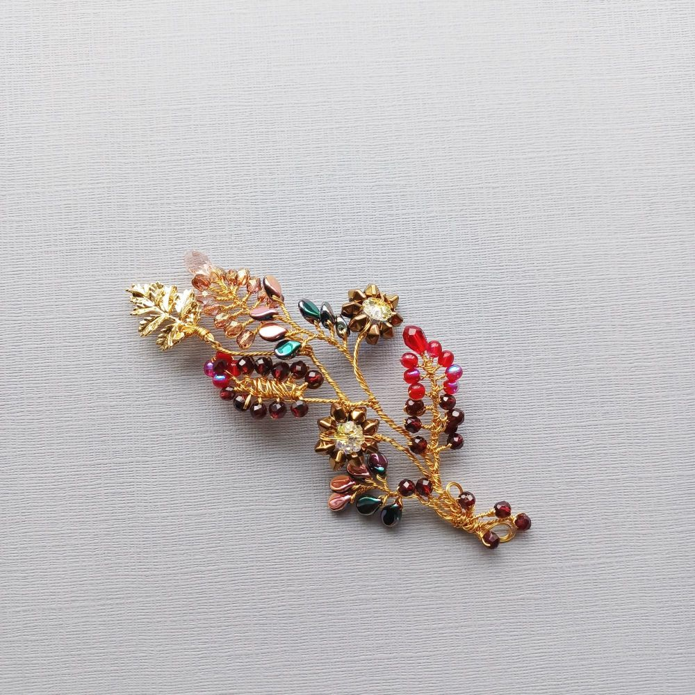 A variety of autumnal-floral occasion hair accessories in-burgundy and gold themes -0A-BBS-Juliana