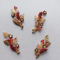 A set of 4 bridesmaids autumnal-floral occasion hair accessories-0A-BBS-Juliana.1-burgundy, pink & gold