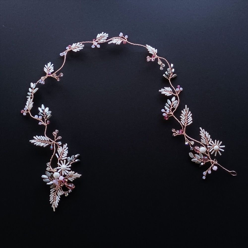 Signature rose gold and opal pink floral bridal hair vine -0A-BBS-Yukimi