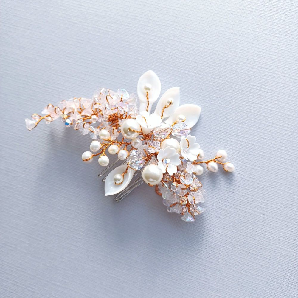 White flower and pearl bridal hair accessory-A3-Snow White