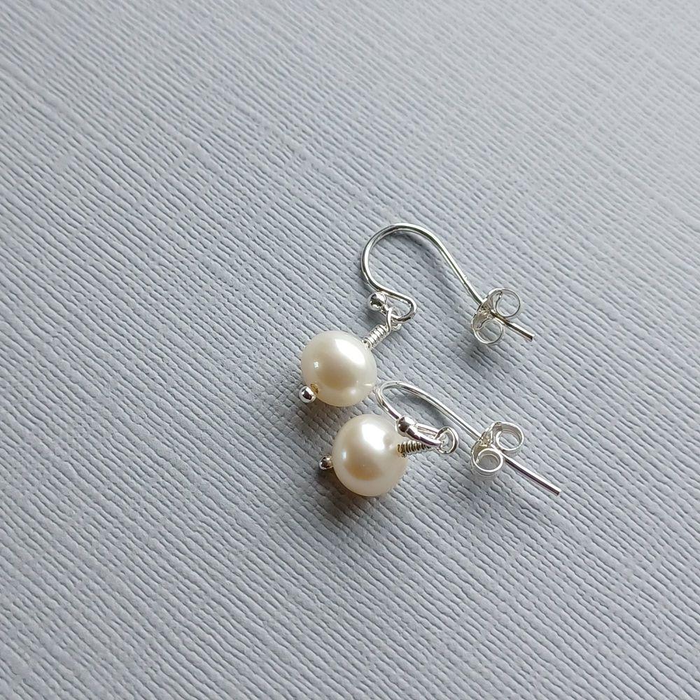 Simple fresh water pearl and sterling silver bridal-wedding earrings-SSSFWPARL8-9-PLAIN