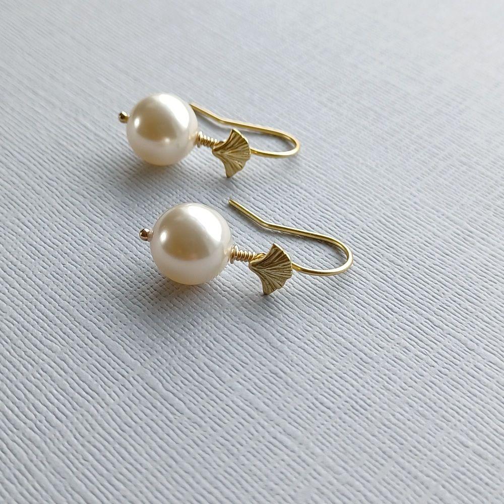 Swarovski pearl occasion & bridal earrings-VMLSWPL10-11-GINKO
