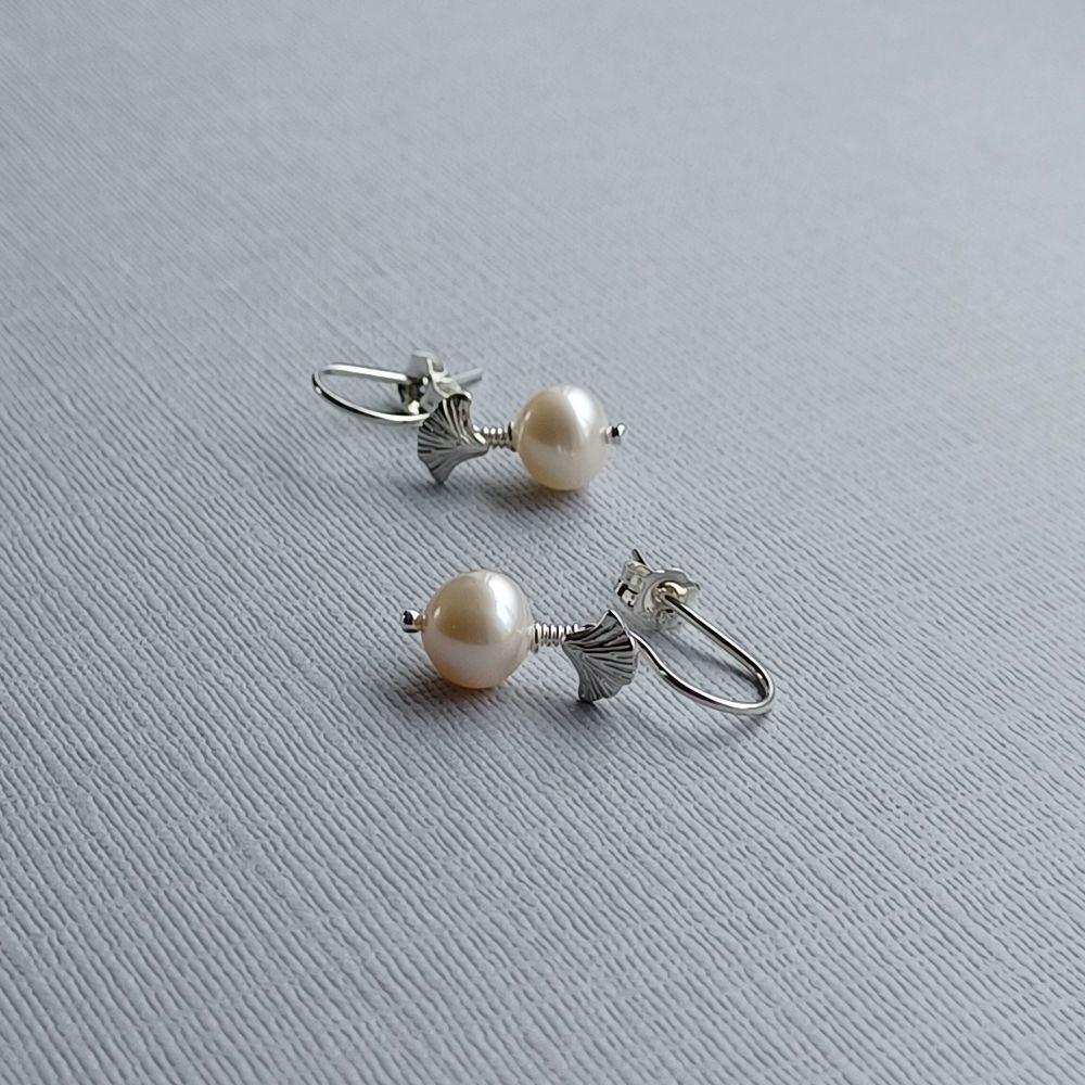 Fresh water pearl occasion & bridal earrings-SSFWP8-9-GINKO-SS