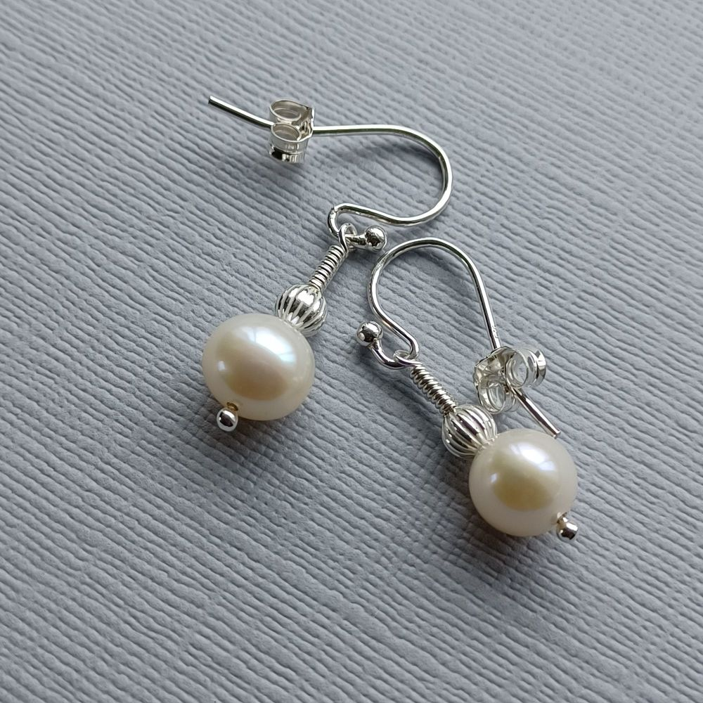 Fresh water pearl and sterling silver bridal-occasion earrings-SSFWPARL8-9-WSB