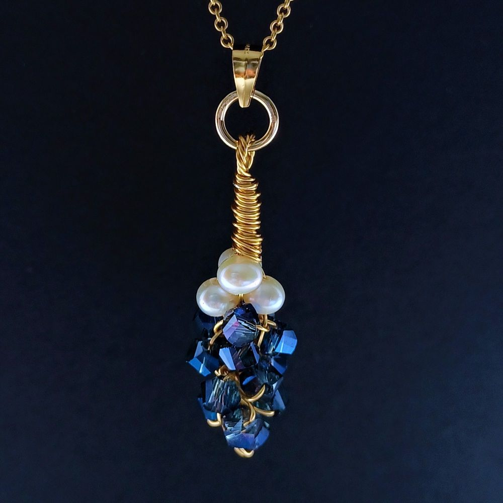 Blue crystal and fresh water pearl pendant-BLUCRYFWP4-4-PDNT