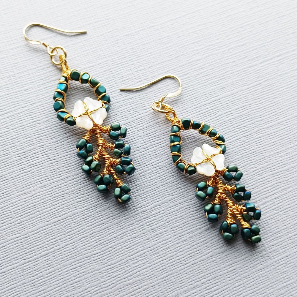 Green Occasion Earrings-Signature-EMRLDGRN-6-with pearl flower