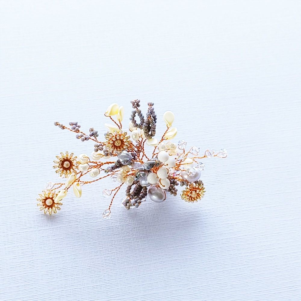 Autumnal floral occasion hair accessory-0A-BBS-Isabella-grey