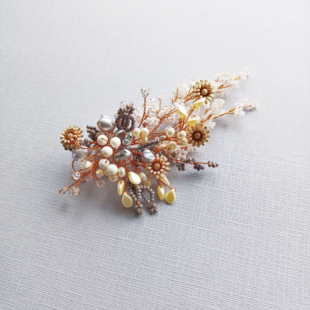 Autumnal floral occasion hair accessory-0A-BBS-Isabella-grey.long