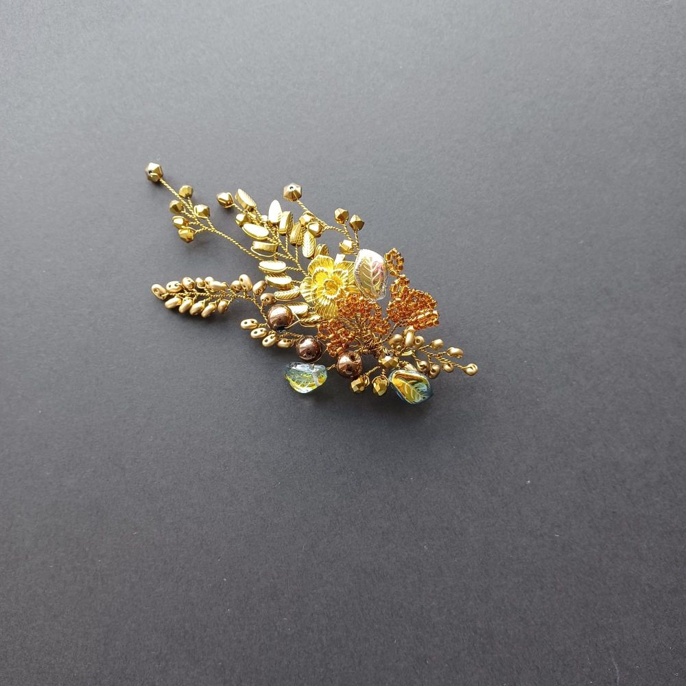 Golden autumnal occasional hair accessory--0A-BBS-Melinda-2