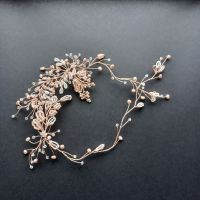 Nude-champagne colour  headpiece with soft pink pearls on rose gold wire -0A-BBS-champagne