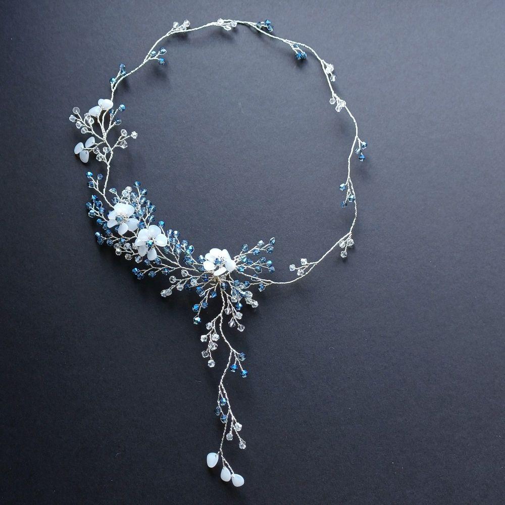 Blue crystal and opal white flower bridal hair vine- 0A-BBS-Rei-Blue
