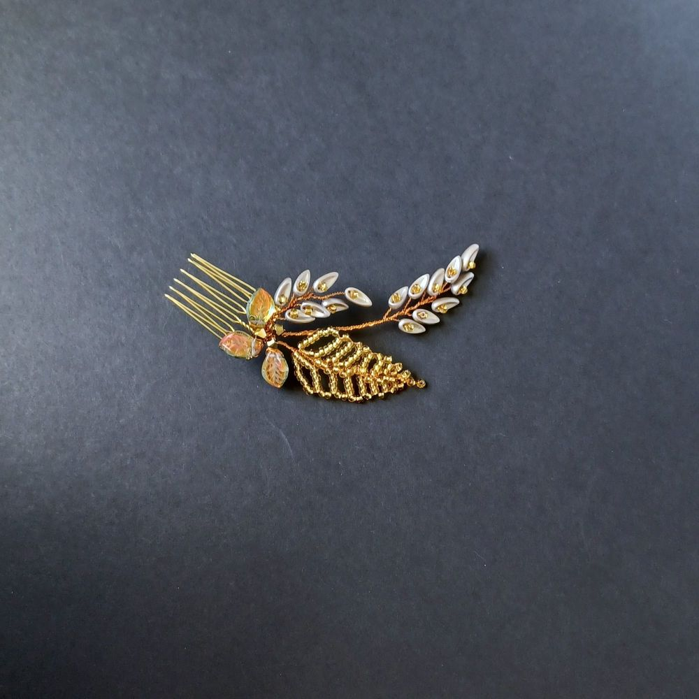 Golden autumnal leaf occasional hair accessory-0A-BBS-Mortimer