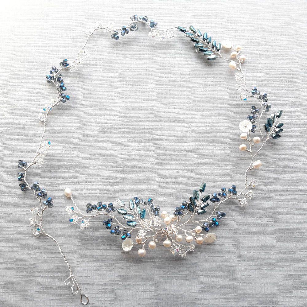 Signature blue & pearl floral vine garland-headpiece-Elizabeth-3.1