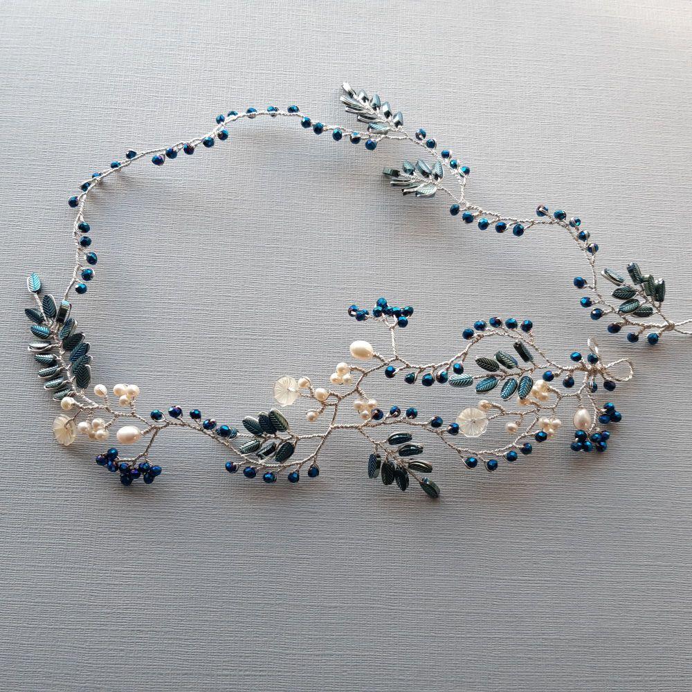 Signature blue leaf & pearl floral vine garland -Elizabeth-2.1