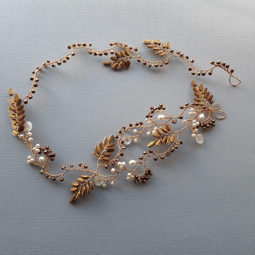 Signature golden brown leaf & pearl floral vine garland -Elizabeth-1.3