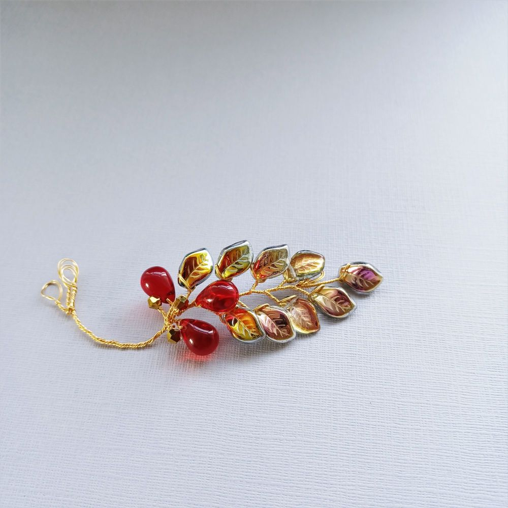Autumnal golden leaf and red crystal occasional hair accessory-0A-BBS-Mawsy