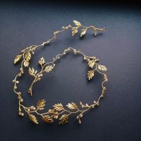 Delicate champagne and golden leaf hair vine -0A-BBS-Sunset