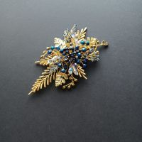 Brilliant occasion hair accessory with 18k gold filled leaf and our rustic blue signature leaf-0A-BBS-Katherine.gold