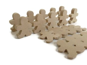 10x MDF Gingerbread Men, 6mm or 15mm Thick