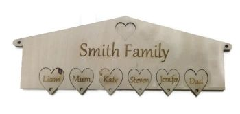 Personalised Wooden Key Holder Hearts Wall Mounted Birch Plywood
