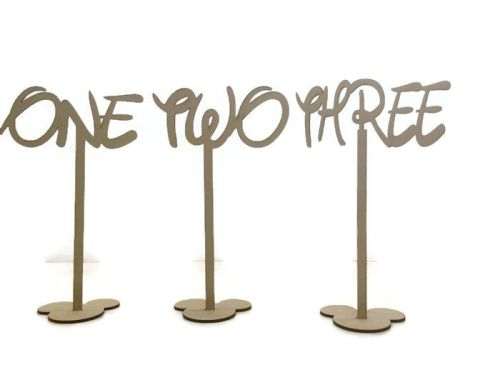 MDF Wooden Standing Table Numbers, Disney Font