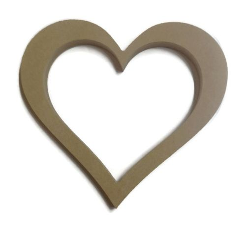 MDF Wooden Hollow Heart 6mm or 15mm Thick