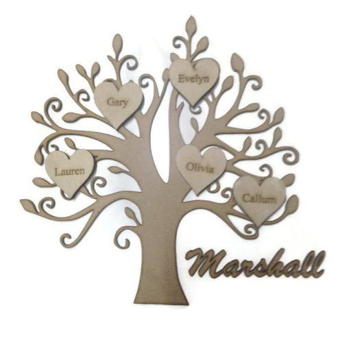 Personalised Wooden Family Tree With Hearts & Names