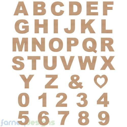 Alphabet Letters & Numbers, 18mm thick (Arial font)