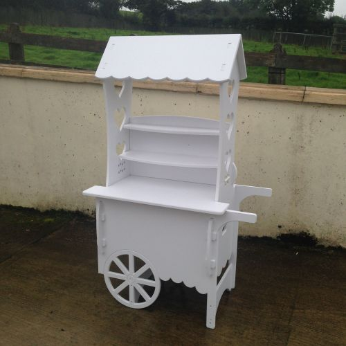 Large Candy Cart Wedding Birthday Party White PVC Cart (Unique Hinged Syste