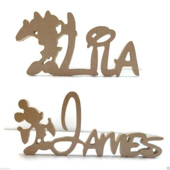 FREESTANDING MDF Wooden Mickey Mouse, Minnie Mouse Disney Custom Name Plaque 200mm/15mm