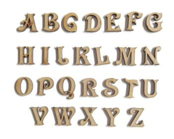 3mm Thick Wooden MDF Victorian Letters / Numbers, 2cm - 10cm sizes