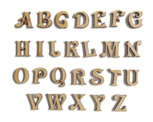 Wooden MDF Victorian Letters / Numbers, 2cm - 10cm sizes