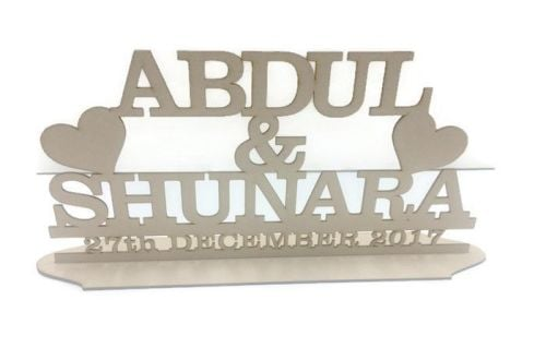 MDF Wooden Wedding / Name Stand Heart (custom made)