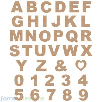 MDF Waterproof Alphabet Letters & Numbers, 18mm thick Ariel Black Font