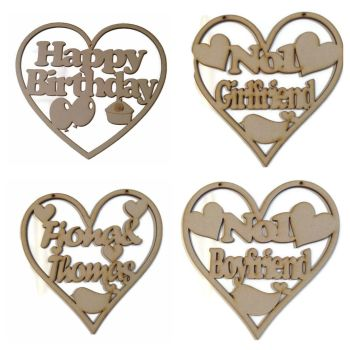 Wooden MDF Heart Plaque Personalised Wedding, Boyfriend, Girlfriend, Birthday