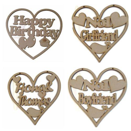 Wooden MDF Heart Plaque Personalised Wedding, Boyfriend, Girlfriend, Birthd