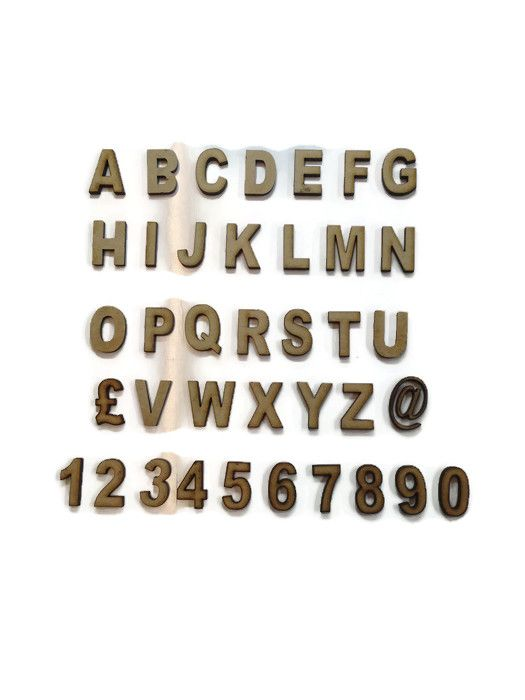 Wooden MDF Arial Letters / Numbers, 2cm - 10cm sizes