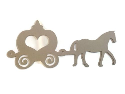 MDF Wooden Horse & Cart Shape 6mm or 15mm Thick