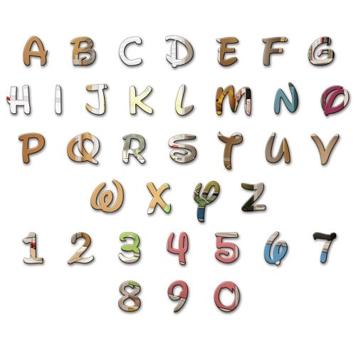 Acrylic Mirror Disney Letters Alphabet Children Name Plaque Wall Various Si