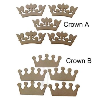 10 x MDF Wooden Crown Shape 4mm Thick Various Shapes 5 of each