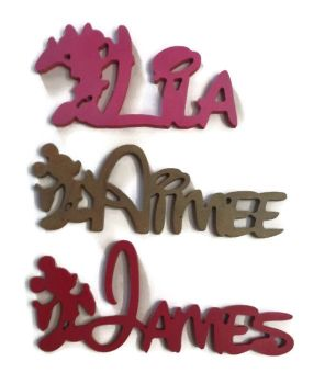 DISNEY STYLE WOODEN PERSONALISED NAMES/LETTERS/ PLAQUE/SIGN/ PAINTED 15mm 200mm High
