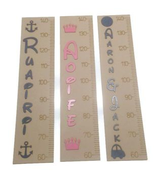 Personalised Wall Ruler , Growth Chart 60cm - 140cm, 3mm MDF Custom Painted