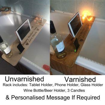 Wooden Personalised Bath Bar Tray Caddy Buddy Shelf Wine Tablet Phone Holder Mum