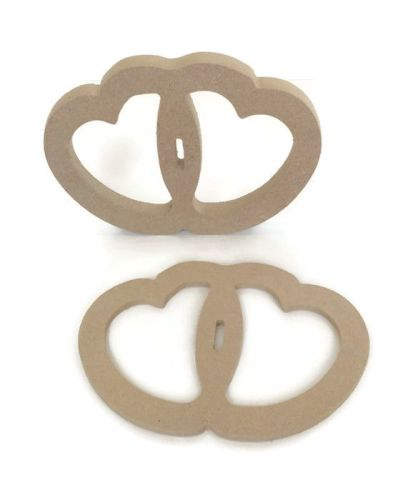 MDF Wooden Shape Inter linked Heart 6mm 15mm Thick