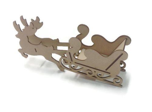 Freestanding 3D Wooden Christmas Santa Sleigh Craft Kit 3mm MDF Various Siz